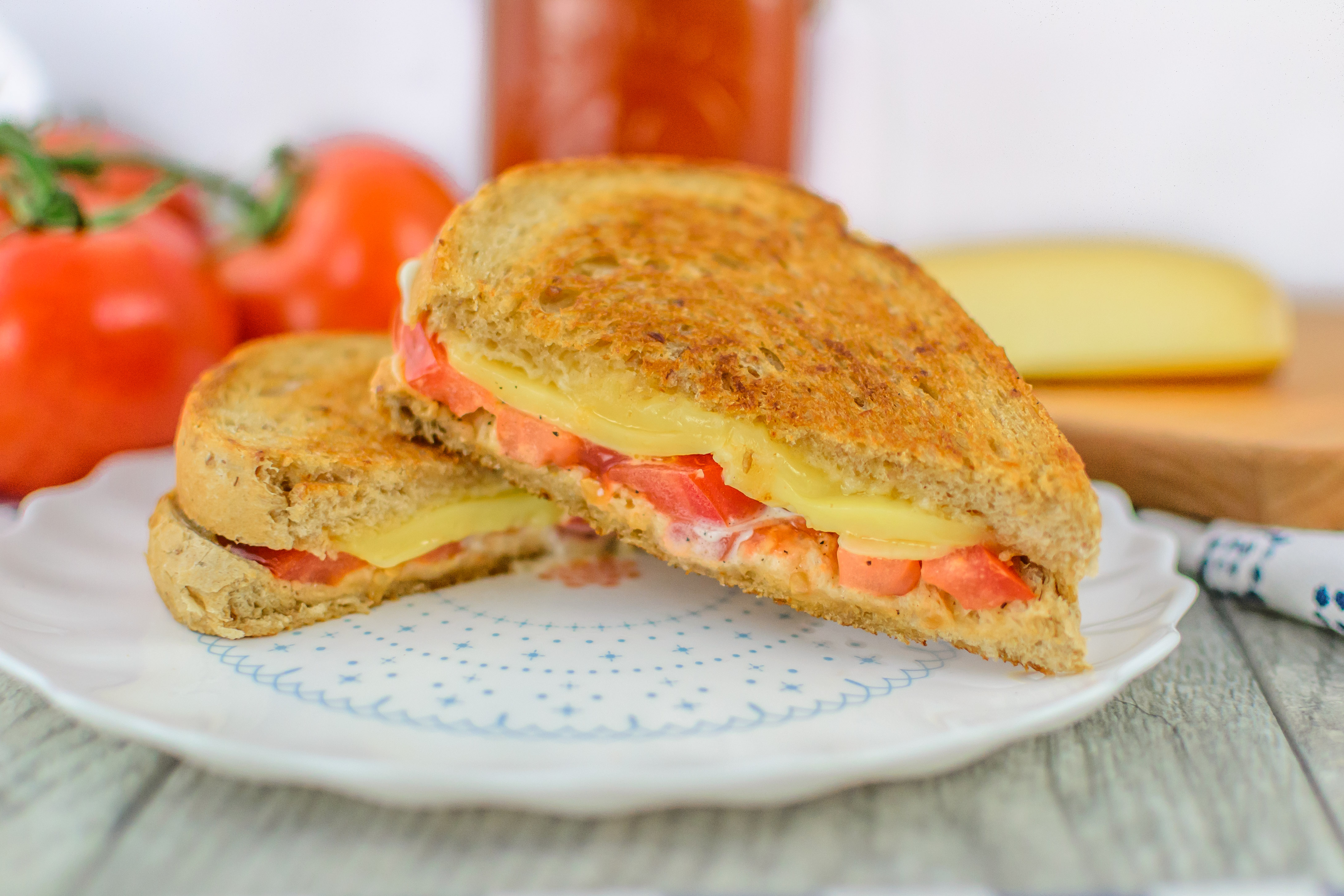 Toasted Tomato Cheese Sandwich - Peppers & Pennies